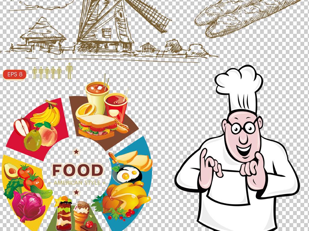 背景图标png图剪影手绘矢量图免抠图海报展板高清晰素材面包西餐免抠