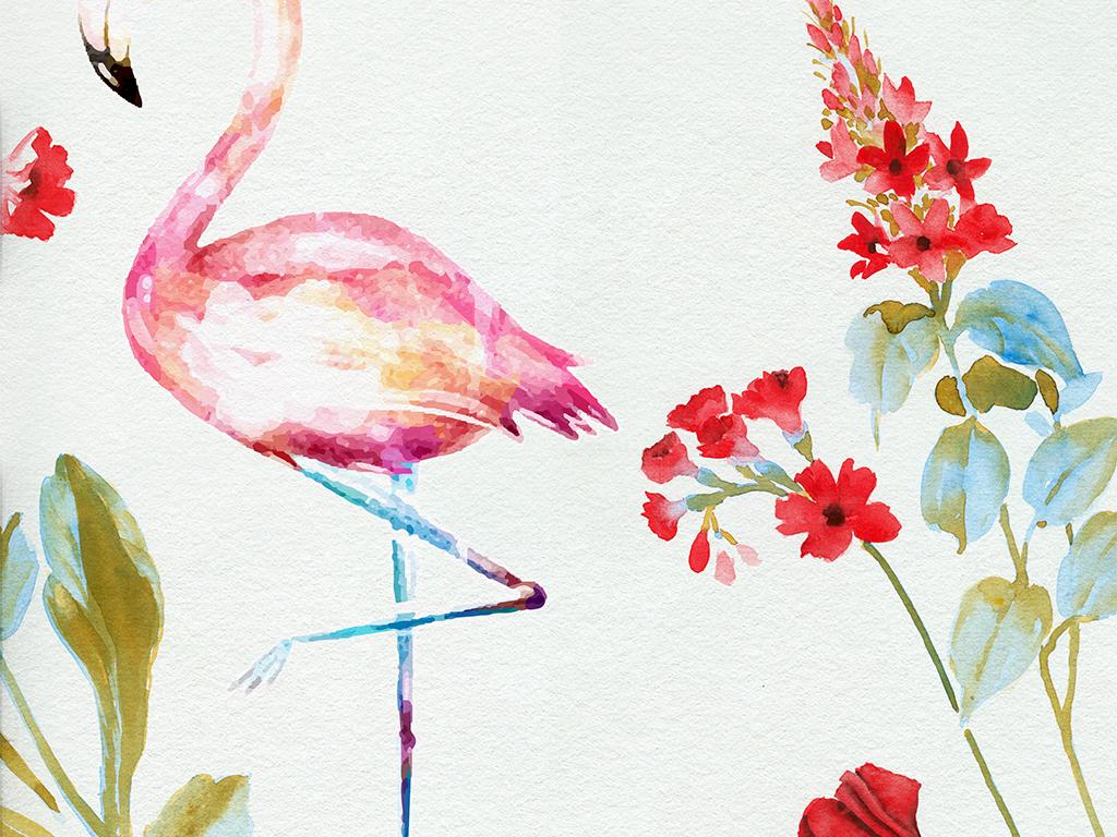 手绘唯美水彩花卉蝴蝶四联挂画无框画装饰画