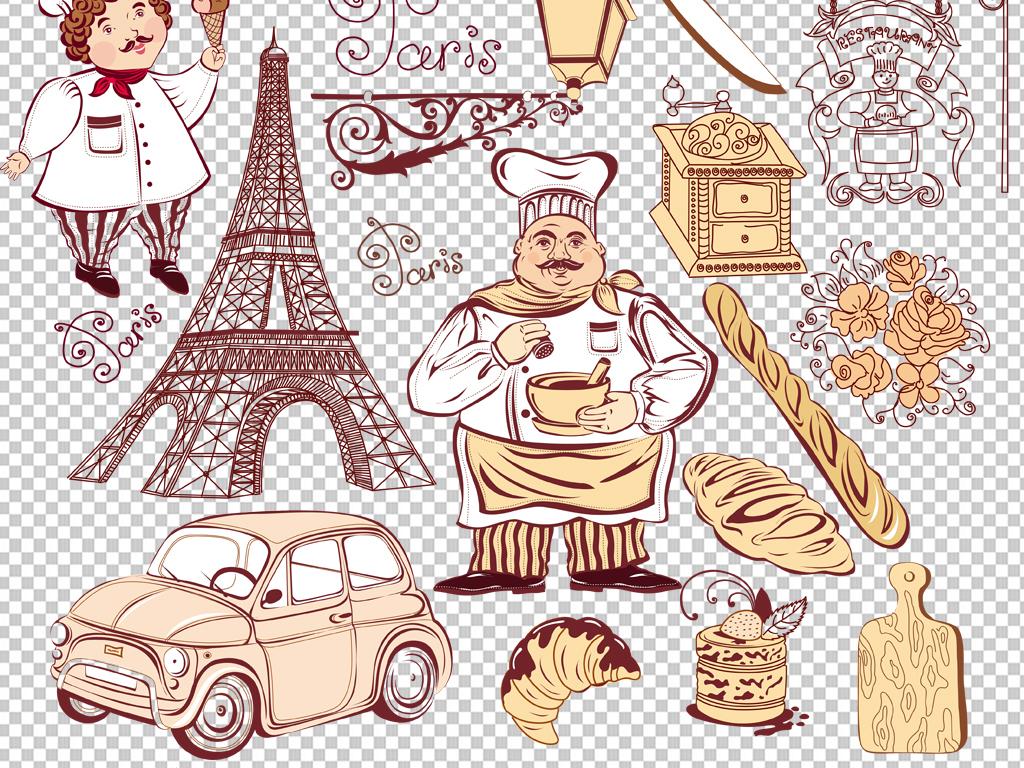 手绘矢量图免抠图海报展板高清晰素材面包免抠素材糕点素材面包素材