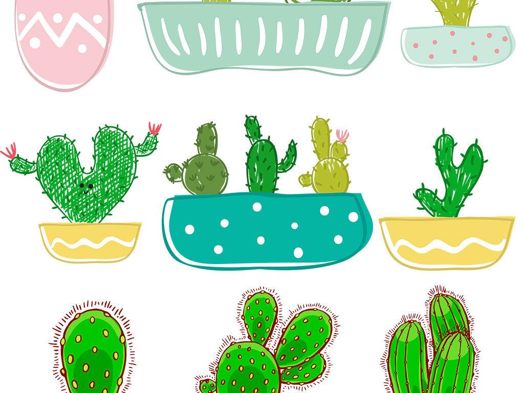 设计元素 其他 装饰图案 > 夏日小清新手绘仙人掌绿色植物淘宝素材