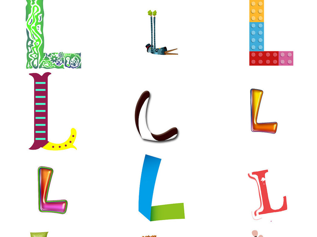 可爱卡通英文字母l素材1