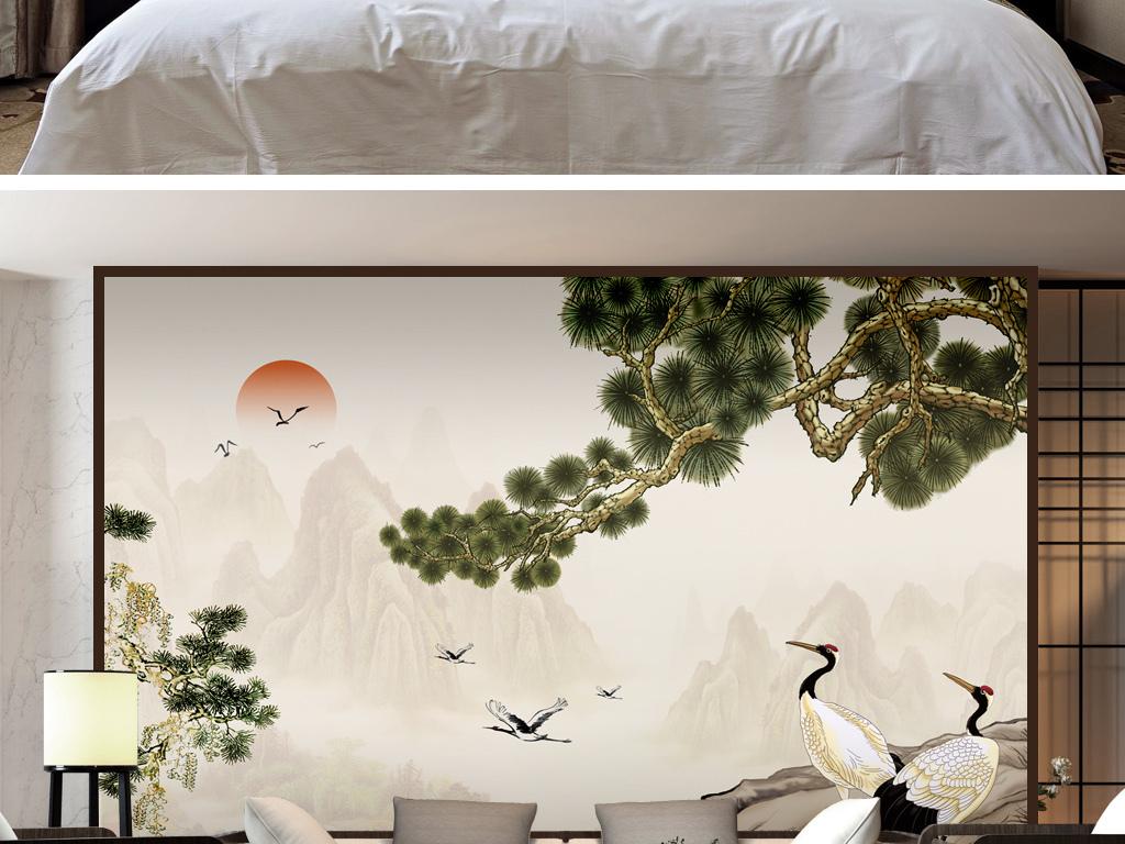 新中式松鹤延年电视沙发背景墙壁画