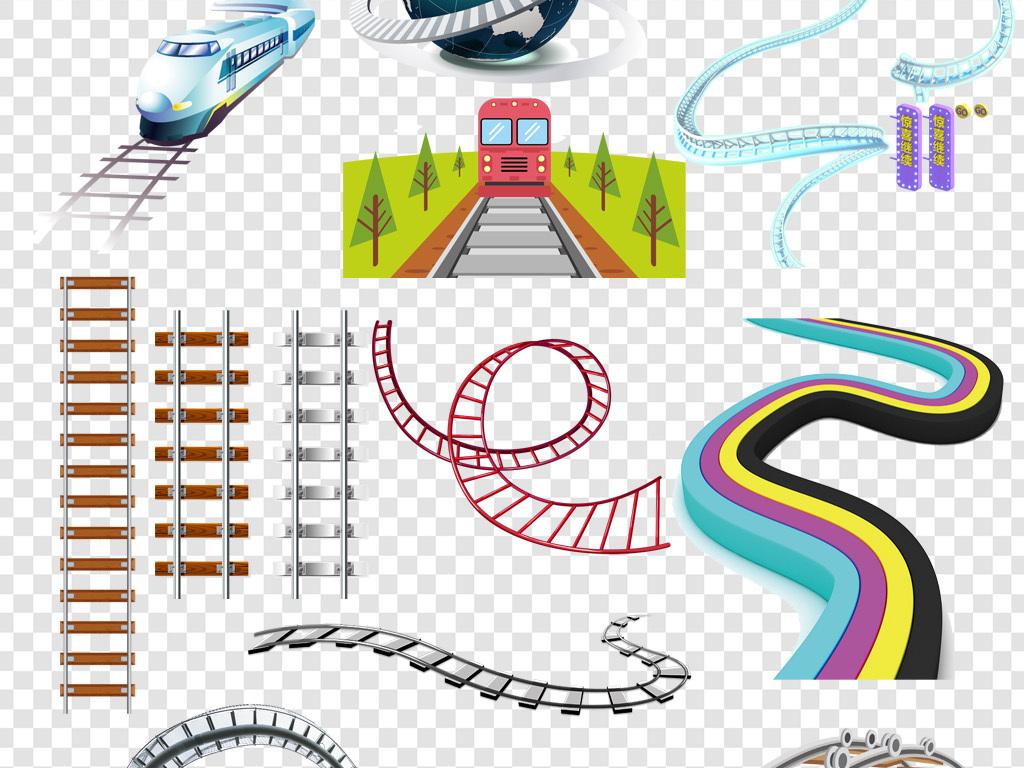 卡通手绘轨道路轨铁轨png素材