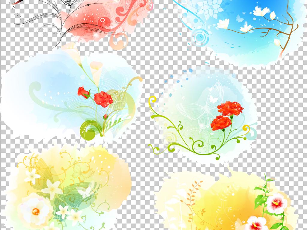 炫彩欧式花纹边框元素png素材