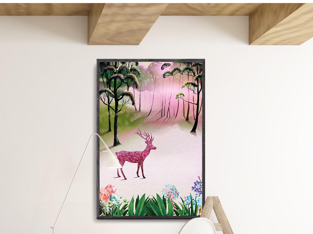 高清北欧麋鹿抽象水粉手绘风景无框画装饰画