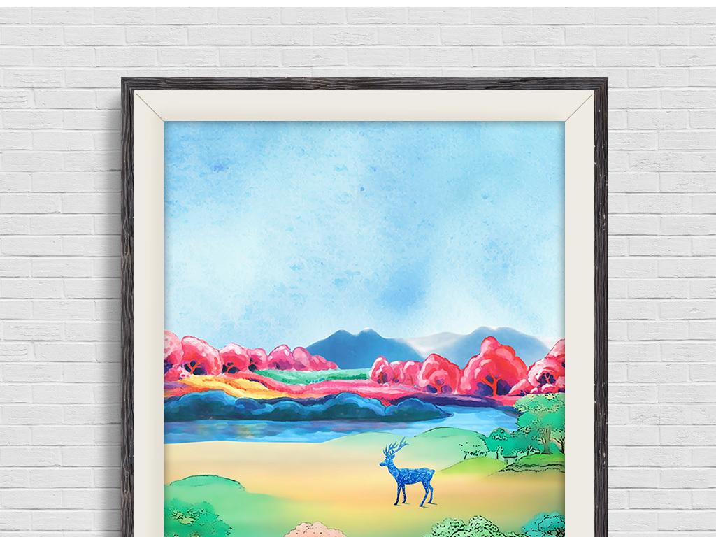 北欧麋鹿抽象水粉手绘风景三联无框画装饰画