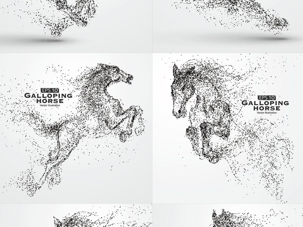18款创意抽象动物奔跑粒子剪影矢量设计素材