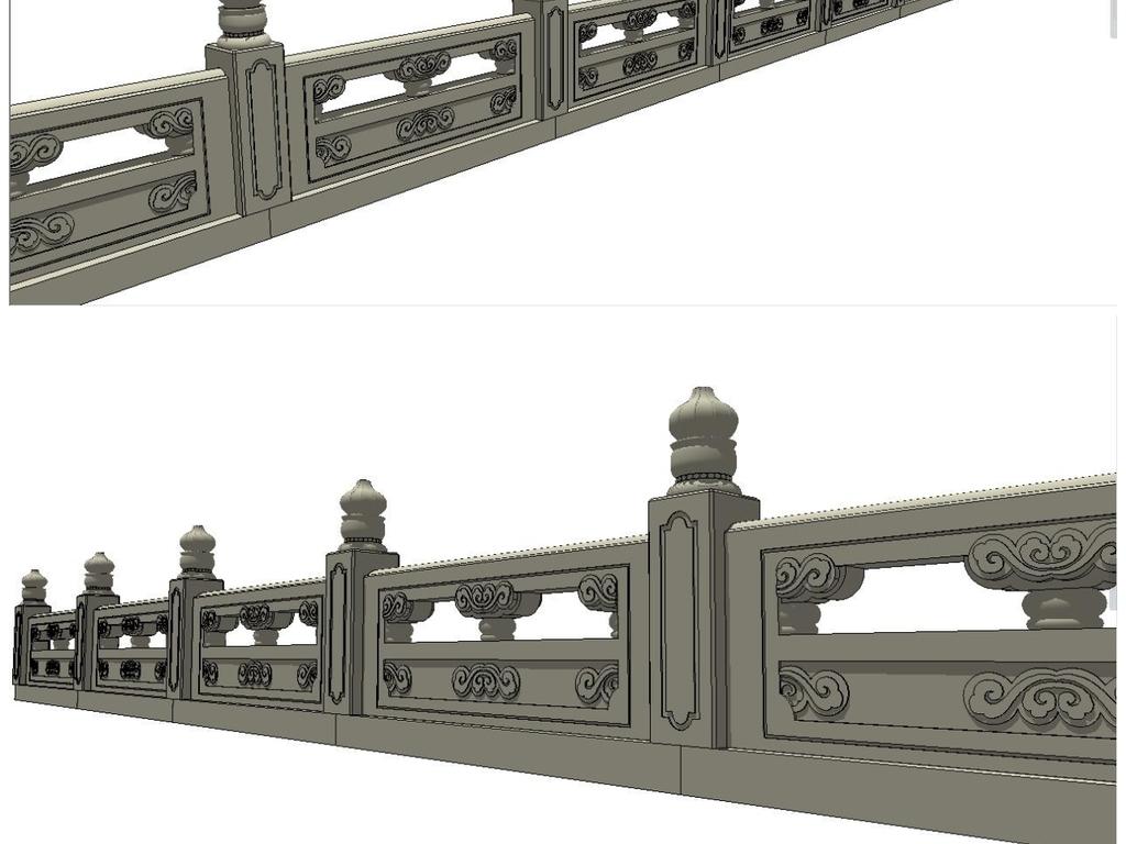 护城河栏杆su模型图片