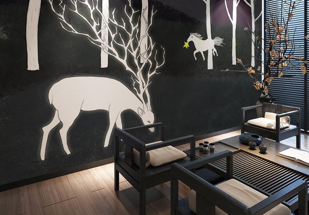 黑色森林麋鹿手绘宜家北欧背景墙