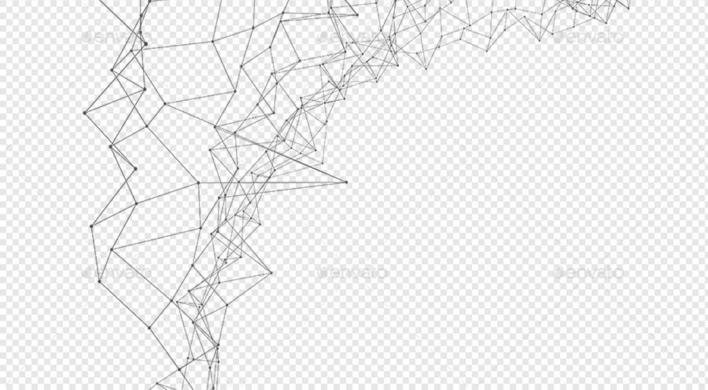 免抠黑白线条素材-10P高清点线连通组合抽象多边形PNG免抠多用途
