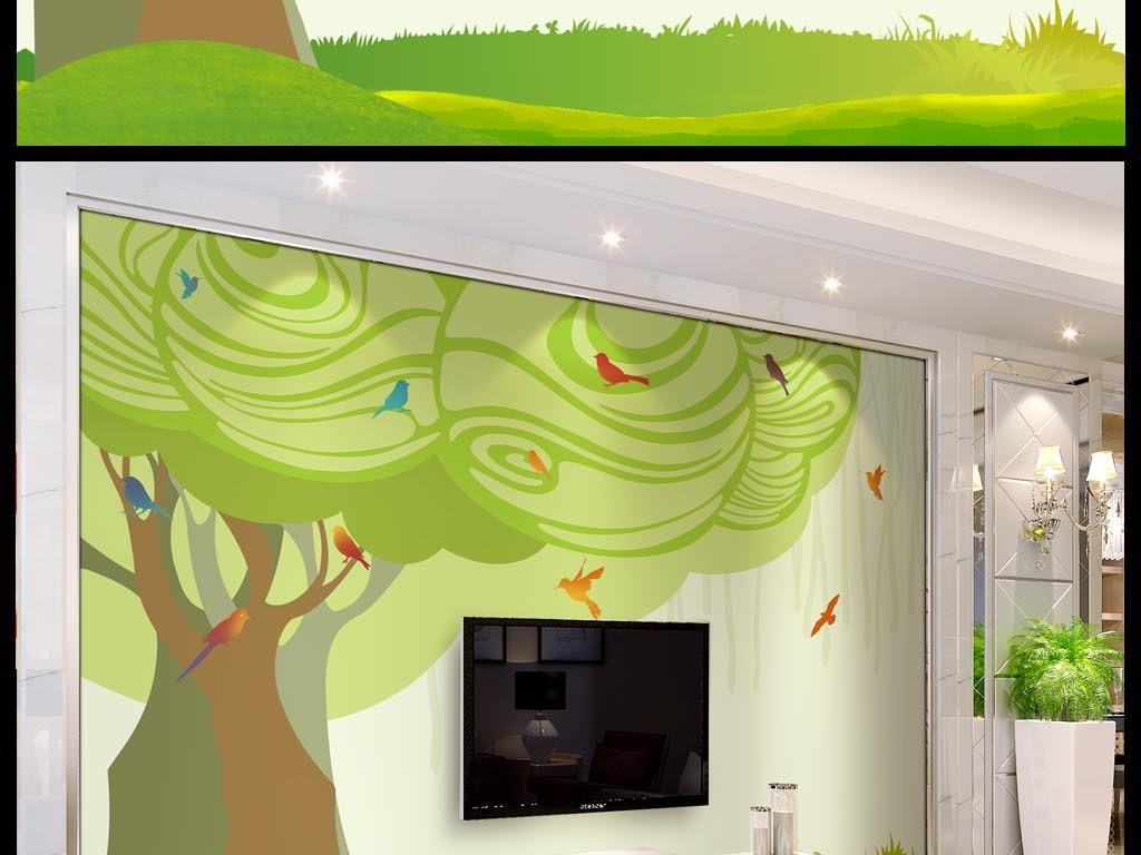 抽象大树绿色手绘简约小鸟电视背景墙