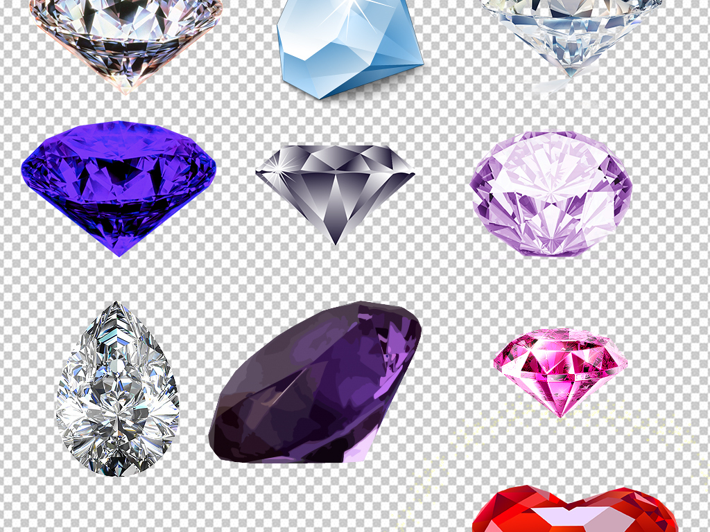 天蓝色炫酷宝石                                  梦幻钻石手绘