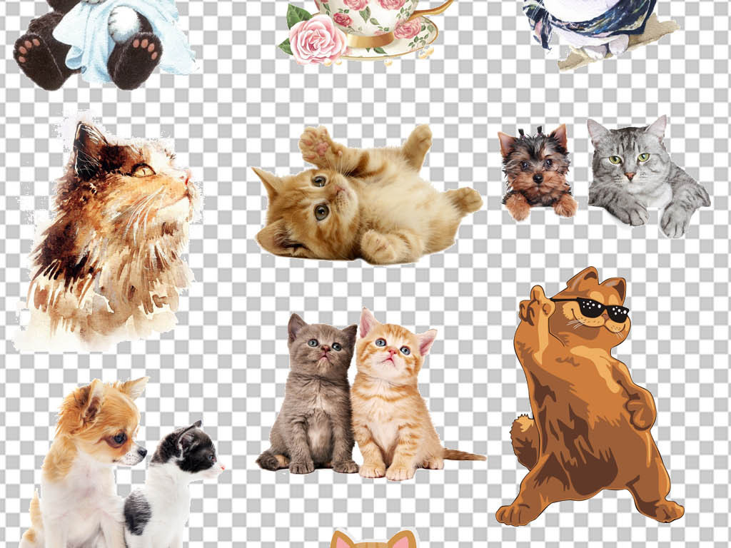 ps海报素材png卡通小动物素材猫咪卡通猫咪卡通素材造型设计多款png