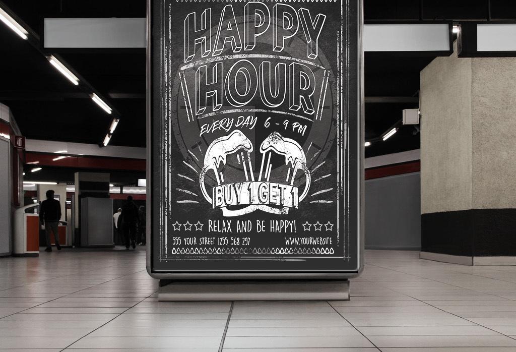 pop海报酒馆促销活动宣传单手绘酒吧啤酒黑板黑板手绘粉笔时光酒吧
