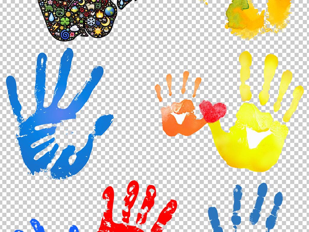 手绘手掌指纹彩绘手手掌纹鞋印抽象手印彩色脚印创意手掌矢量手掌印