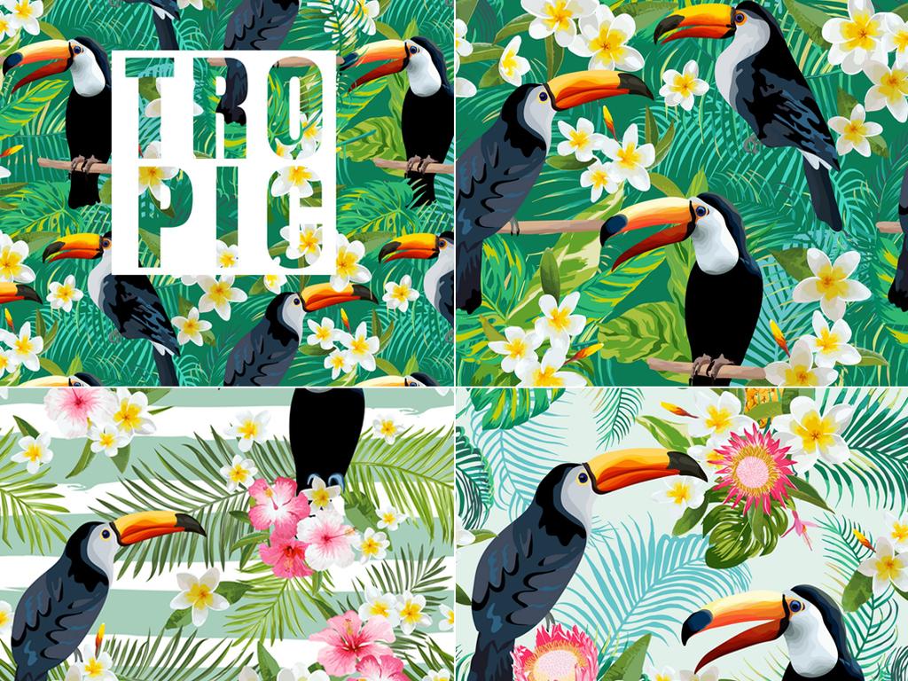 森系花草树叶纹理火烈鸟海报背景矢量图素材