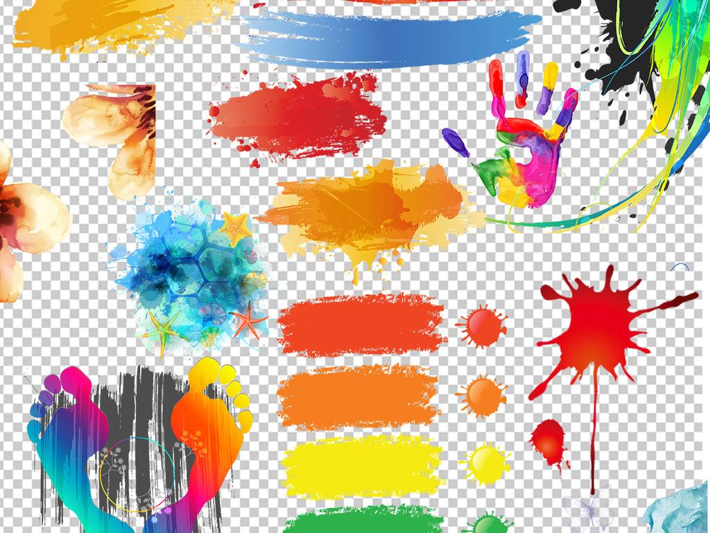 海报素材手绘人物手绘背景手绘墙手绘背景墙彩色笔刷彩色背景墨迹png