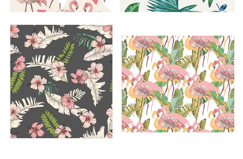 动物植物植物水彩火烈鸟植物水彩素材树叶花草水彩素材水彩植物水彩花