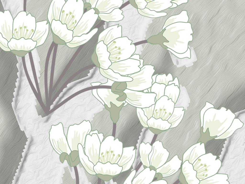 北欧简约清新淡雅手绘白桦树花鸟工笔花爱情鸟装饰背景墙壁画墙纸