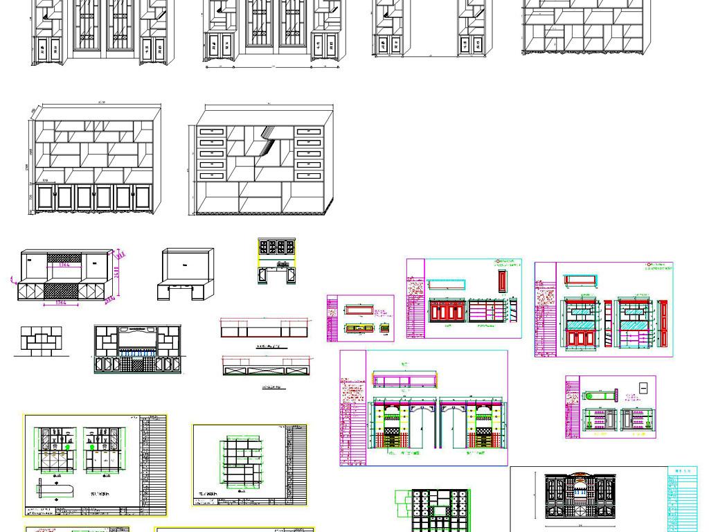 cad图库 家具设计图纸 柜子图纸 > 立体酒柜施工图欧式整木酒柜  版权
