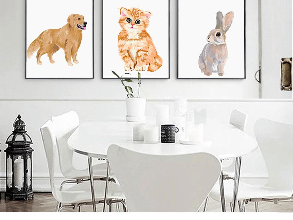 现代简约创意手绘动物装饰画