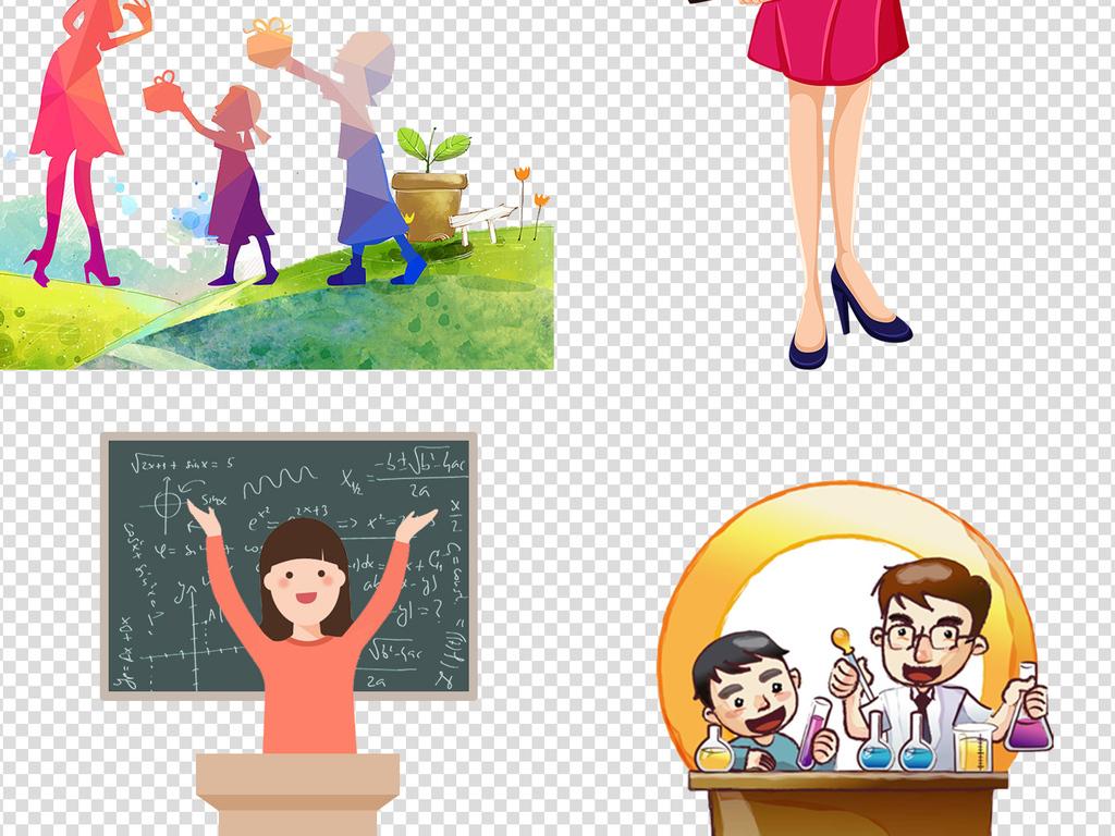 教师节黑板桌椅老师卡通形象免抠png素材