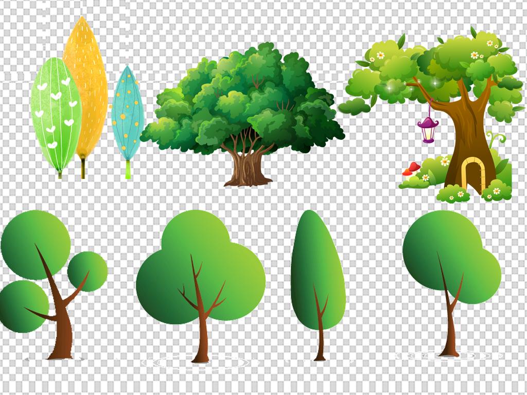 卡通手绘绿色树木植物png免抠素材