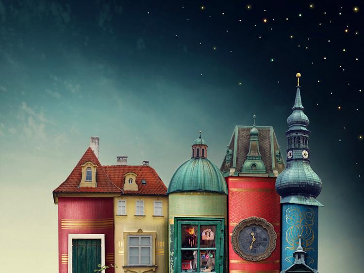 高清卡通书本童话城堡世界儿童房背景墙壁纸