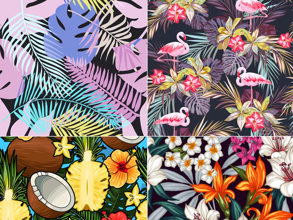 手绘印花图案植物水彩海报背景树叶素材包装素材花卉热带雨林树叶树叶