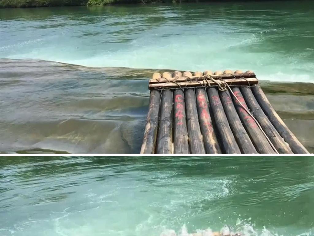小小竹排江中游竹排漂流实拍视频素材图片