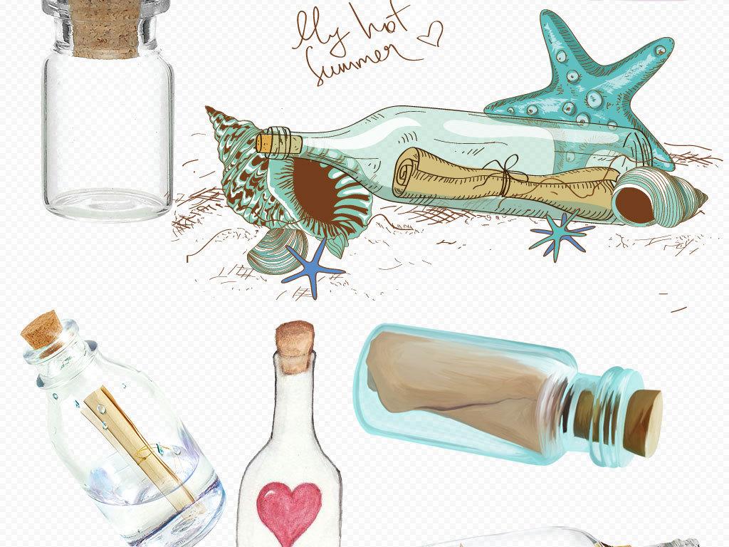 夏季海滩手绘漂流瓶设计素材