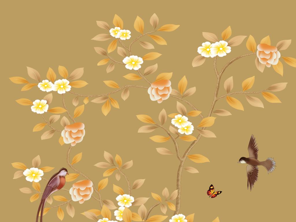 高清新中式手绘花鸟系列玄关背景墙
