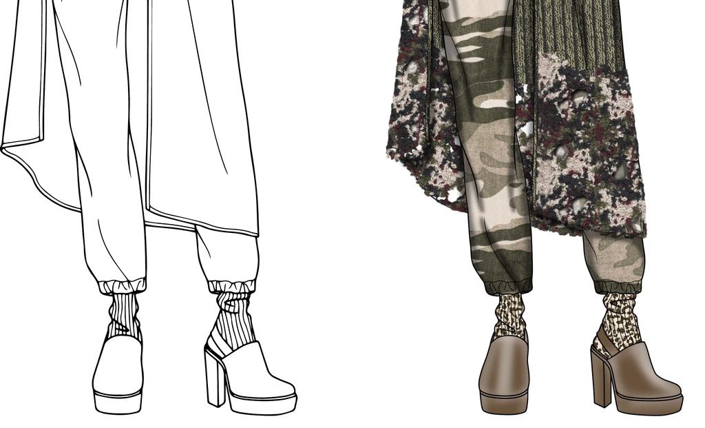 服装设计 服装手稿 其他手稿 > 长款拼接针织外套开衫效果图