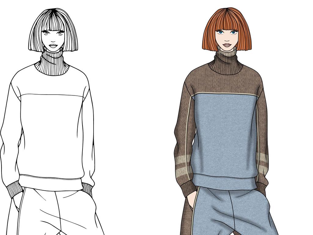 服装设计 服装手稿 其他手稿 > 运动拼接羊毛套装效果图