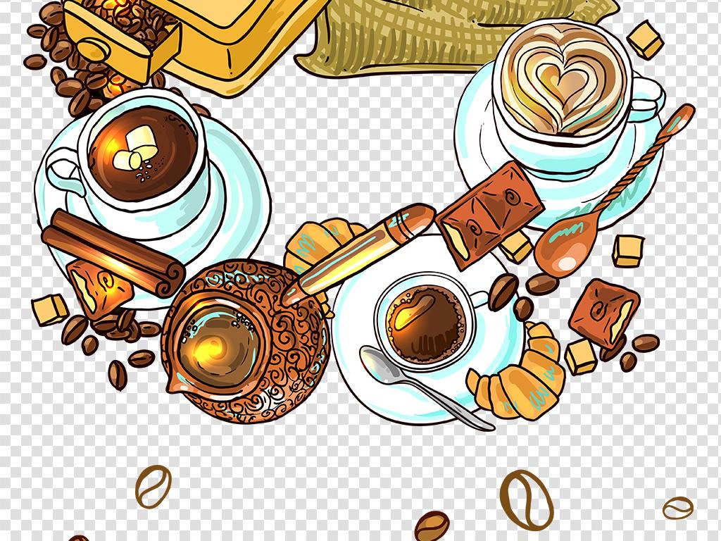 彩绘咖啡豆图片手绘咖啡png免扣图片素材