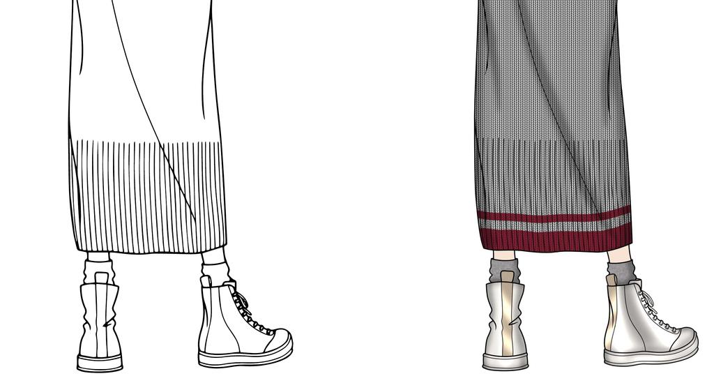 服装设计 服装手稿 其他手稿 > 羽绒针织拼接外套效果图