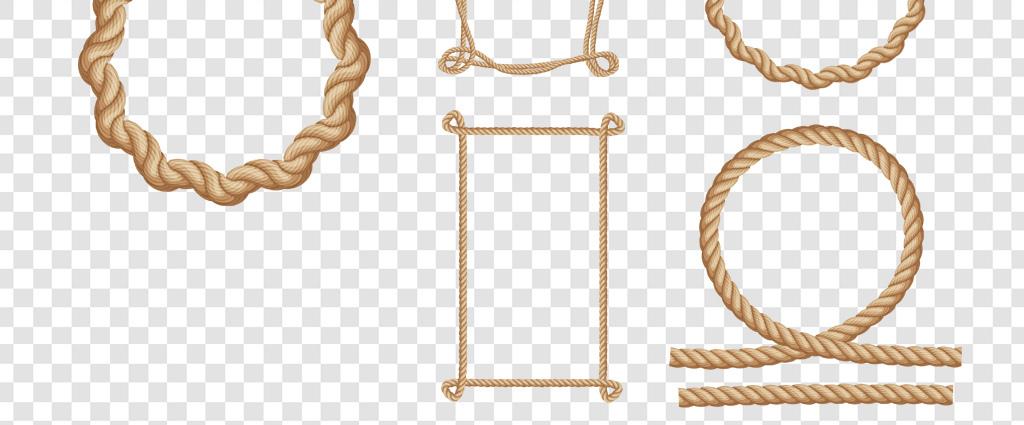 卡通手绘绳子绳结边框png免扣素材