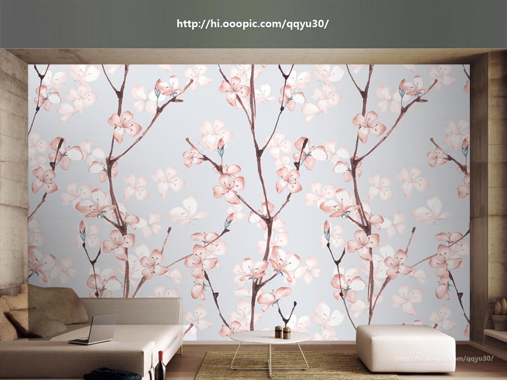 背景墙|装饰画 电视背景墙 手绘电视背景墙 > 北欧梦幻花朵手绘背景墙