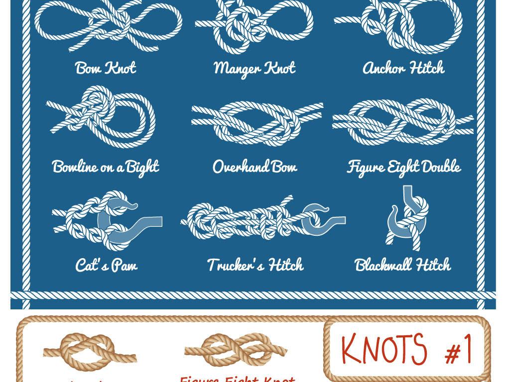 卡通手绘绳子绳结边框eps矢量素材