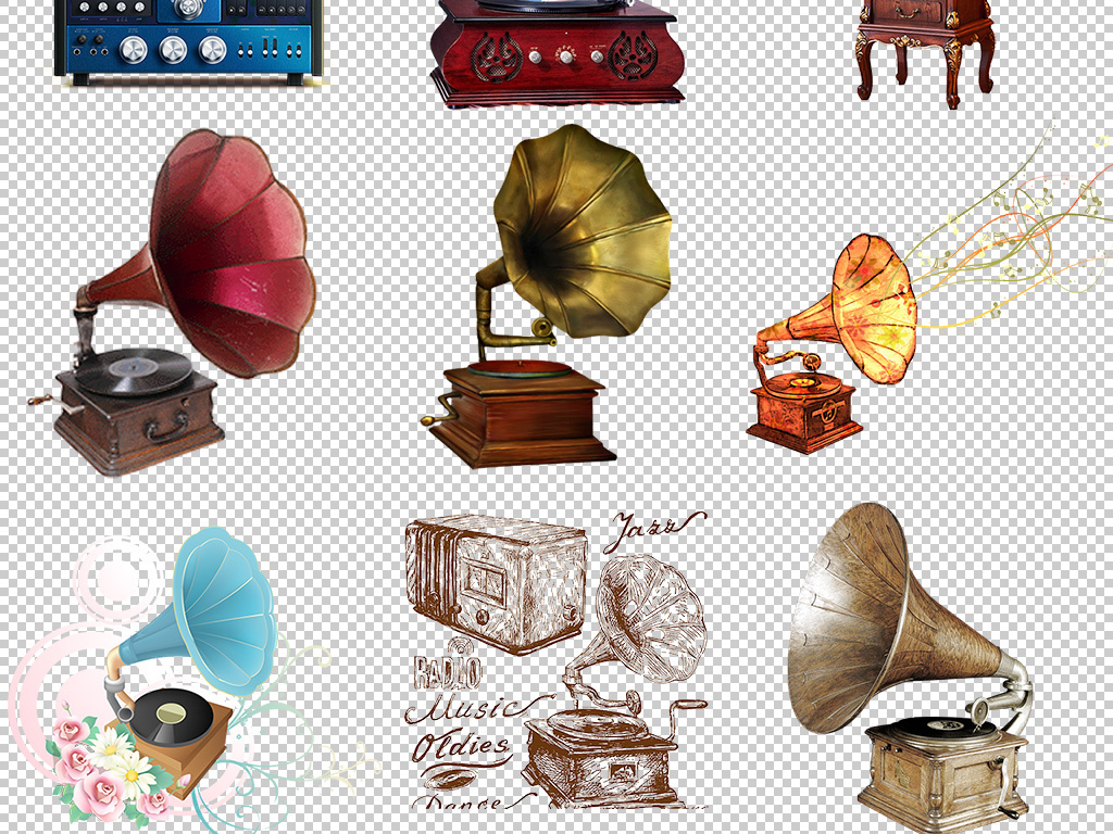 乐器留声机座手绘留声机
