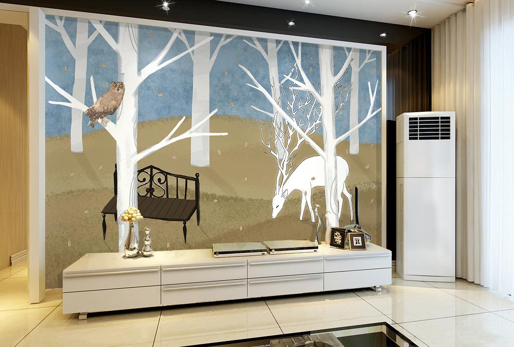 背景墙|装饰画 电视背景墙 手绘电视背景墙 > 北欧宜家手绘森林麋鹿
