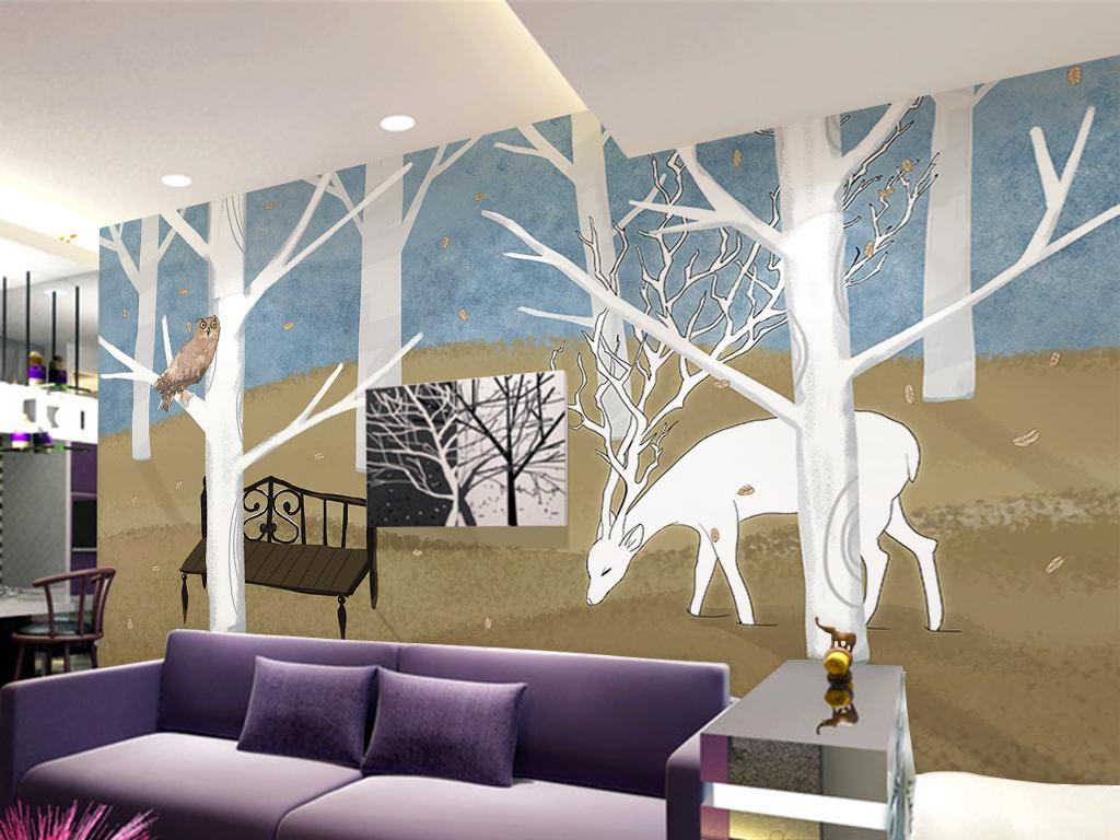 北欧宜家手绘森林麋鹿背景墙