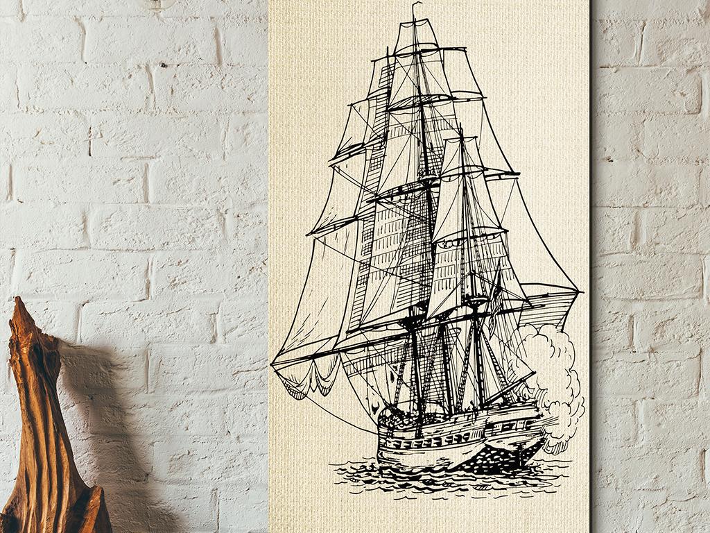 北欧现代手绘大海帆船风景挂画玄关无框画