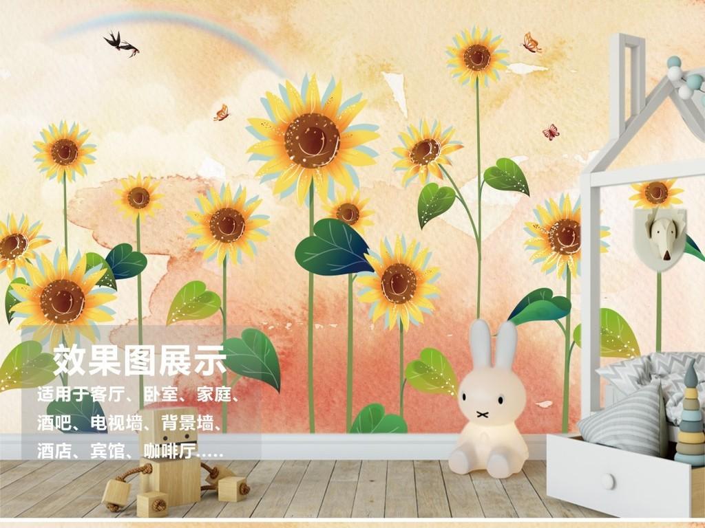 北欧风格手绘向日葵花鸟背景墙装饰画