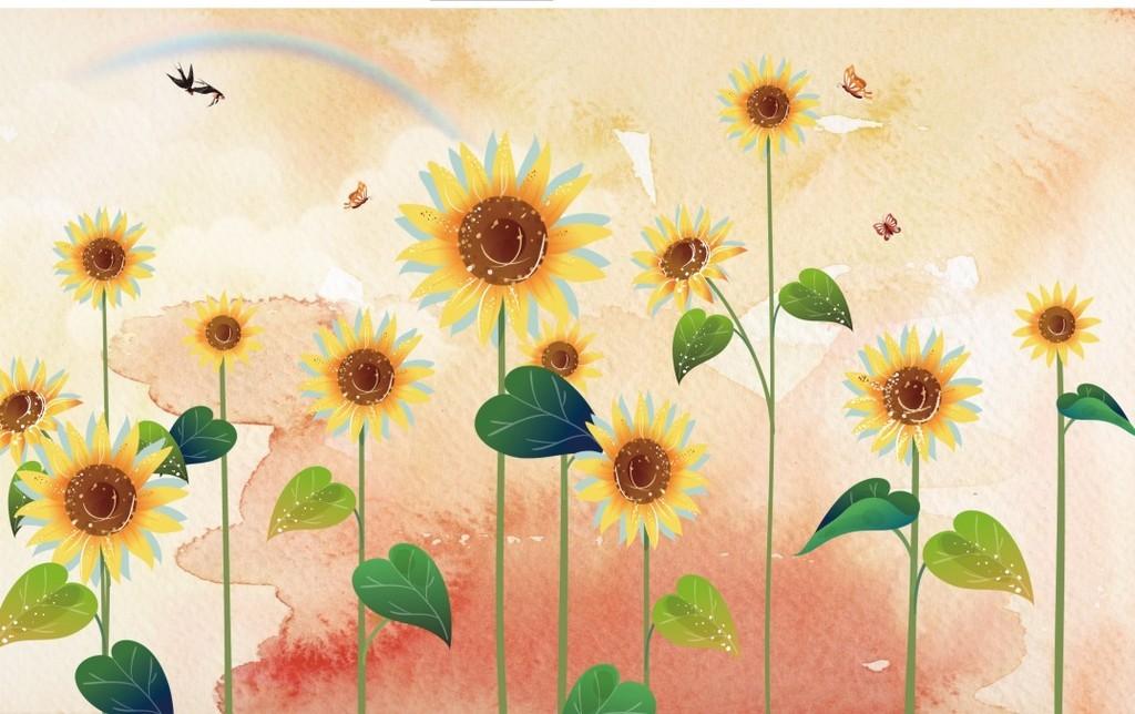 背景墙 电视背景墙 欧式电视背景墙 > 北欧风格手绘向日葵花鸟背景墙