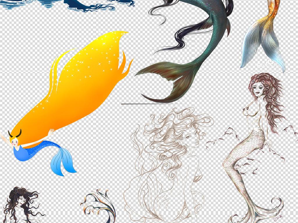 手绘插图卡通人鱼人鱼公主性感美女可爱粉红海洋女孩美人鱼