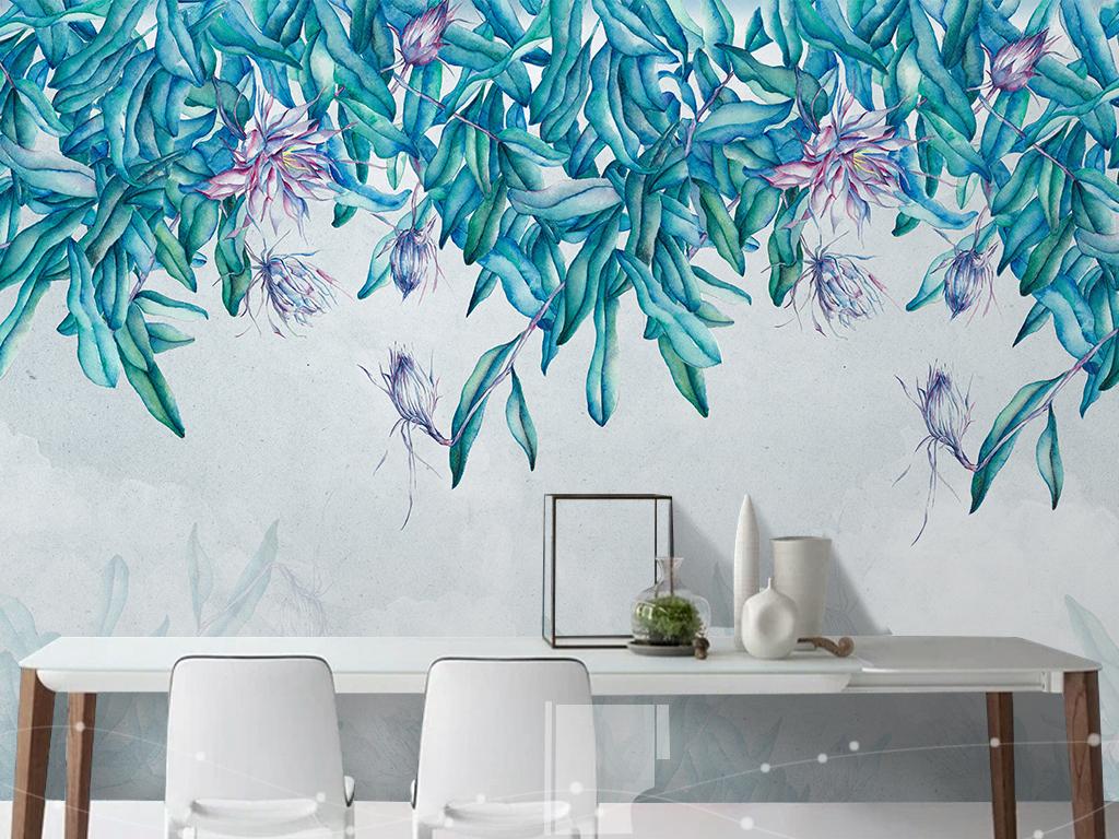 背景墙|装饰画 电视背景墙 手绘电视背景墙 > 手绘树叶北欧简约背景墙