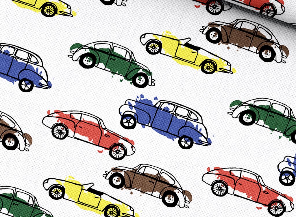 手绘卡通汽车图案设计