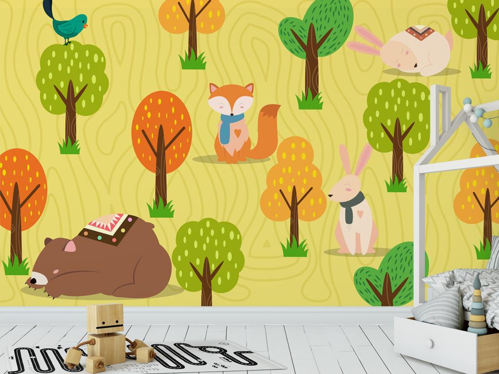 森林动物可爱卡通儿童房背景墙