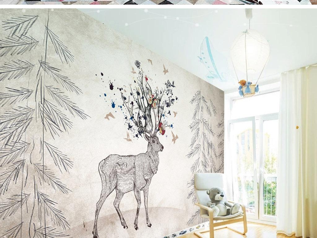 北欧麋鹿手绘电视背景